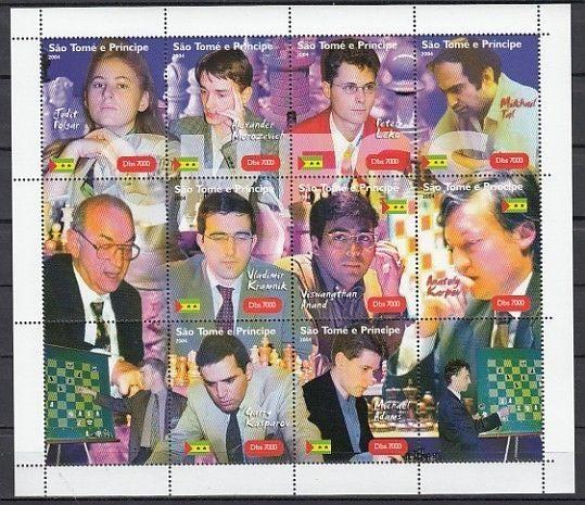 St. Thomas, 2004 issue. Chess Masters sheet of 9.