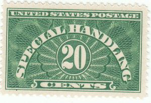 Scott # QE3 - 20c Yellow Green - Special Handling Stamps - MNH