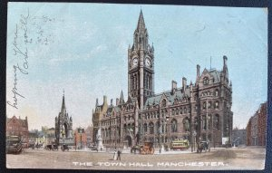 1905 Manchester England Postcard Cover To Rouen France Town Hall
