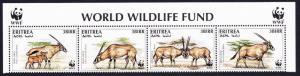 Eritrea WWF Beisa Oryx Strip of 4v with WWF Logo SG#319-322 MI#87-90 SC#261 a-d