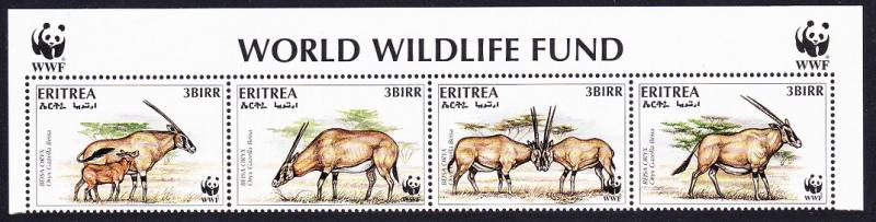 Eritrea WWF Beisa Oryx Strip of 4v with WWF Logo SG#319-322 SC#261 a-d MI#87-90