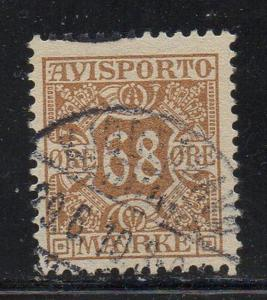 Denmark Sc P7 1907 68 ore yellow brown Newspaper stamp used