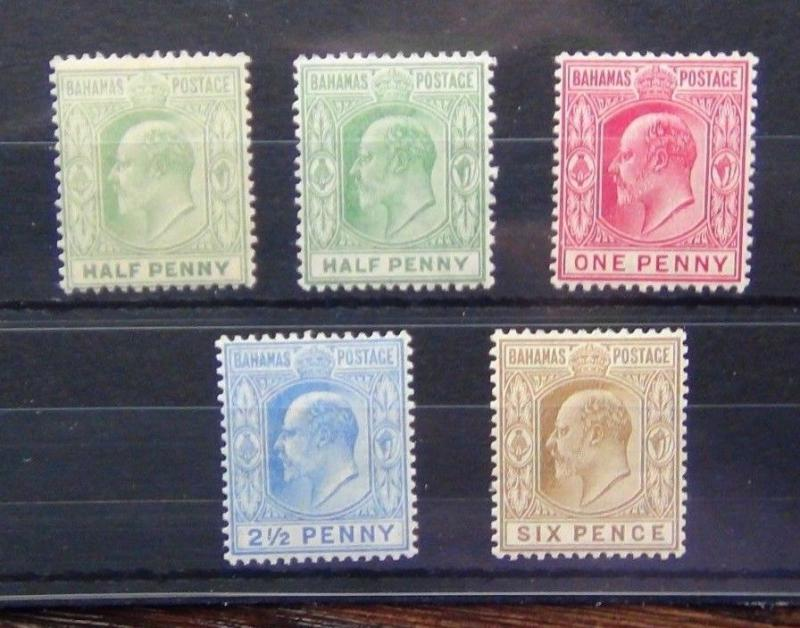 Bahamas 1906 - 1911 set to 6d SG71 - SG74 Fresh Mint