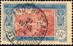 CÔTE-D'IVOIRE - 1924 - CAD GRAND BASSAM / COTE-D'IVOIRE DOUBLE CERCLE SUR N°67