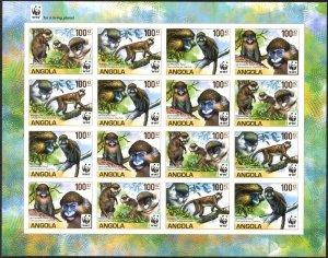 Angola 2011 WWF Monkeys Macaques Sheet of 16 Imperf. MNH