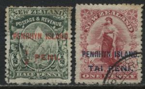 Penrhyn Island  NZ 1902 overprinted 1/2 peni and 1 peni used