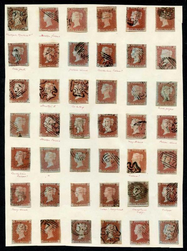 1841 Penny Reds on an Old Time Page inc Many better (42 Stamps)