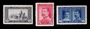 BOSNIA 1917 SCOTT #B13-B15 PRINCESS SOPHIE & FRANZ FERDINAND MINT LIGHTLY HINGED