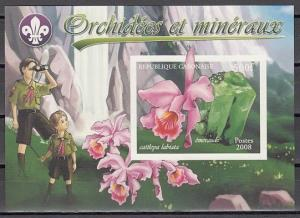 Gabon, 2008 Cinderella issue. Orchids & Minerals, IMPERF s/sht. Scouts shown. ^