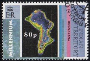 BIOT 2000 used Sc #222 80p Diego Garcia Satellite Images