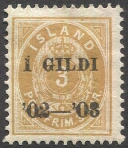 ICELAND 1902  Sc 49 orange-yellow 3a  MH F-VF, , cv $240