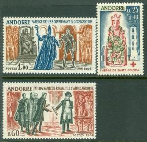 FRENCH ANDORRA : 1964. Scott #159-60, B1. Very Fine Mint Never Hinged. Cat $69.