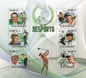 Mozambique - Golf - Woods, Mickelson, Els- 6 Stamp  Sheet 13A-438