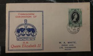 1953 Kingstown St Vincent QE 2 Coronation First Day Cover Queen Elizabeth FDC H