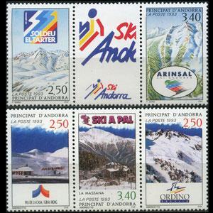 ANDORRA FR. 1993 - Scott# 423-4 Ski Resorts Set of 5 NH