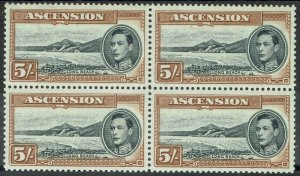 ASCENSION 1938 KGVI LONG BEACH 5/- MNH ** BLOCK PERF 13