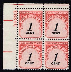 US STAMP #J89 1c 1959-85 Postage Due MNH/OG BLK OF 4 PL#