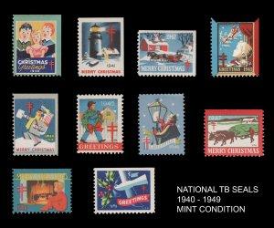 USA CINDERELLA STAMP COLLECTION TB SEALS 1940 - 1949. MINT