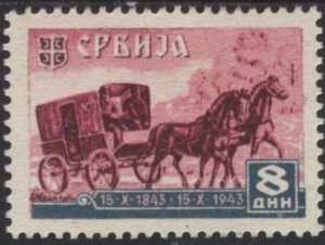 Serbia 2N43 (mh) 8d post wagon, vio rose & gray (1943)