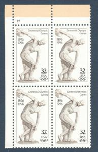 3087 Centennial Olympic Games Plate Block Mint/nh (Free Shipping)