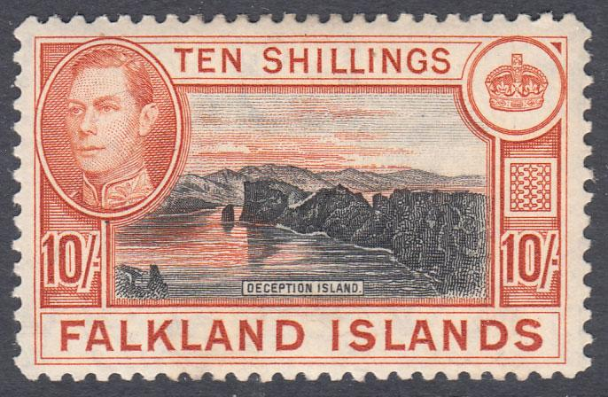 Falkland Islands KGVI 1938 10/- 10s Black Red-Orange SG162b Mint Hinged