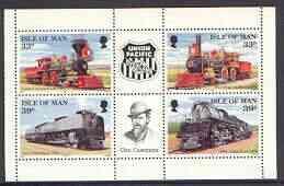 Isle of Man 1992 Union Pacific Railroad pane containing 3...