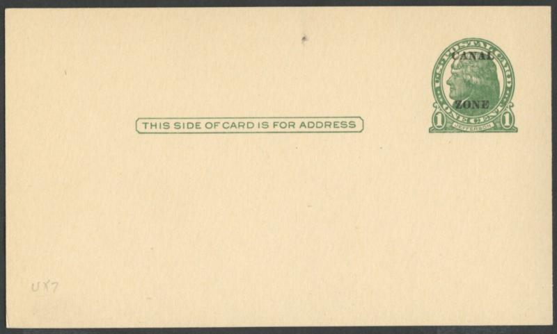CANAL ZONE #UX7 POSTAL CARD UNUSED, XF CV $80.00 BP4315