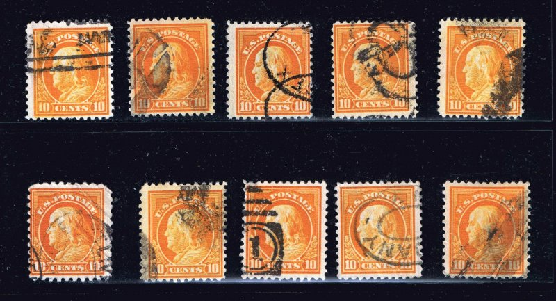 US STAMP #510 10c 1917 Flat Plate Printing USED STAMP COLLECTION LOT
