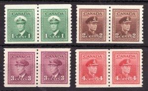 #278-81 - Canada - 1948 KGVI War Issue coil pairs - MNH -VF- superfleas - cv$120