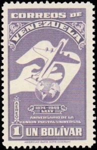 Venezuela #C284-C292, Complete Set(9), 1950, UPU, Never Hinged