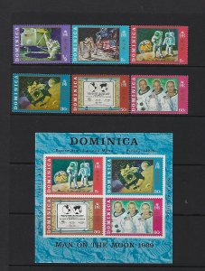 DOMINICA SCOTT #291-296A 1970 NEIL ARMSTRONG SET WITH SHEET-  MINT NEVER HINGED
