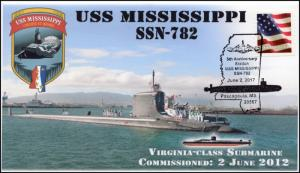 17-267, 2017, USS Mississippi, Submarine, Navy, 5th Anniv. Event Cover