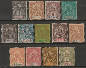 Benin 1894 Sc 33-45 complete set MH*/MNG(*)/used