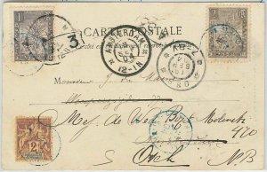 44979 - MADAGASCAR - POSTAL HISTORY   POSTCARD: MAJUNGA to NETHERLANDS 1904 blu