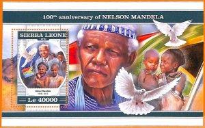 A6868 - SIERRA LEONE, Error, 2018, MISSPERF SOUVENIR SHEET: Nelson Mandela, Bird