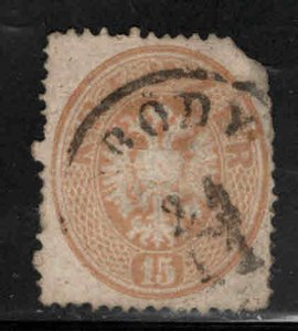 Austria Osterreich Scott 21 Used  perf 14 Used stamp clipped corner nice cancel