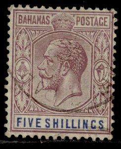 BAHAMAS GV SG124, 5s dull purple & blue, FINE USED. Cat £65.