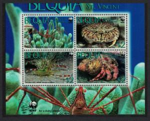 Bequia WWF Caribbean Reef Crustaceans Block 2*2 WWF Logo MI#647-650