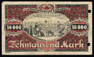 OLD GERMANY PAPER MONEY Karlsruhe - Stadt - Februar 1923 - 10000 Mark