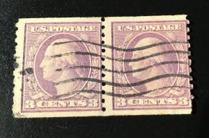 494 Washington, Violet, Type II, perf. 10, circ. coil pair, Vic's Stamp Stash