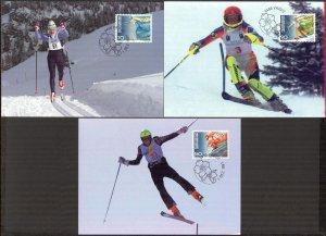 Liechtenstein 1997 Winter Olympics Games Nagano -98 3 Maxi Cards FDC