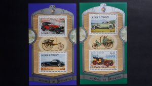 Cars - Old - Sao Tome and Principe 1983 - complete set in 2 SS perforated ** MNH