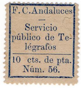 (I.B) Spain Telegraphs : Andalucia 10c Dark Blue (1886)