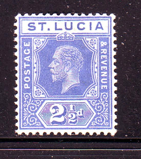 St Lucia Sc 67 1912 2 1/2d bright blue George V stamp mint