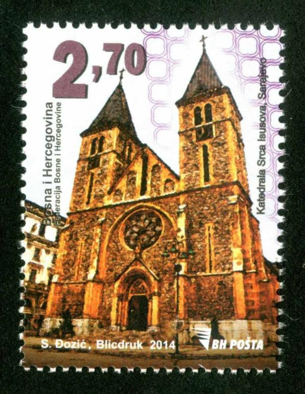 BOSNIA & HERZEGOVINA/2014, Religious buildings - Jesus's Heart Cath. Cathed, MNH