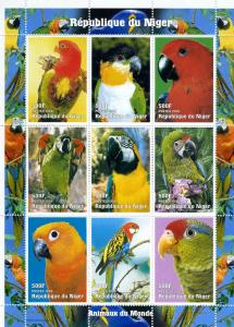 Niger 1998 Beautiful Birds Parrots 9v Mint Full Sheet. (L-110)