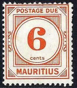 Mauritius SGD10a 6c Perf 13.5 x 14 Wmk w12 Post Due M/M Cat 23 pounds