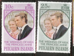 Pitcairn Islands Scott 135-6 Wedding set 1973