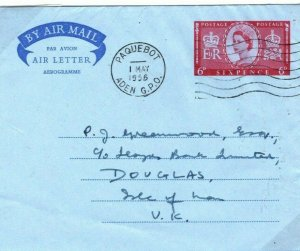 ADEN PAQUEBOT GPO GB Stationery AIR LETTER IOM Maritime Cover 1956 30.13