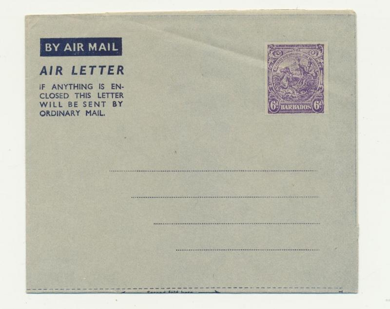 BARBADOS 1939 6d AIR LETTER VF USNUSED (SEE BELOW)